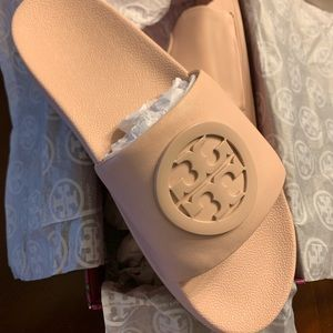Tory Burch genuine leather slides